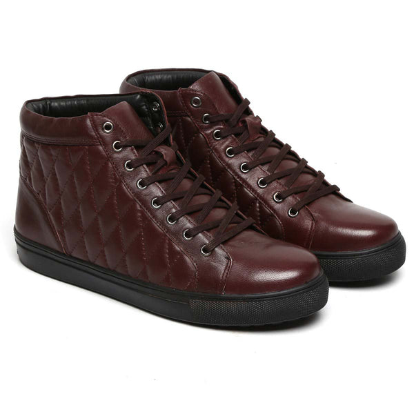 Bareskin Burgundy Leather Diamond Stitched Sneakers Shoes
