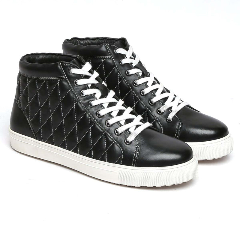 Black Leather White Thread Diamond Stitched Sneakers By Bareskin