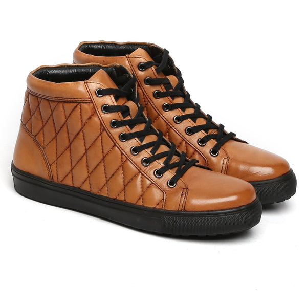Tan Genuine Leather Sneakers By Bareskin