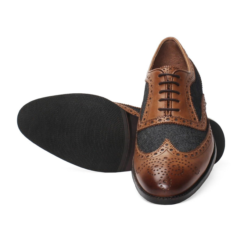 Tan Leather/Charcoal Grey Denim Full Brogue Wingtip Formal Shoes By Brune