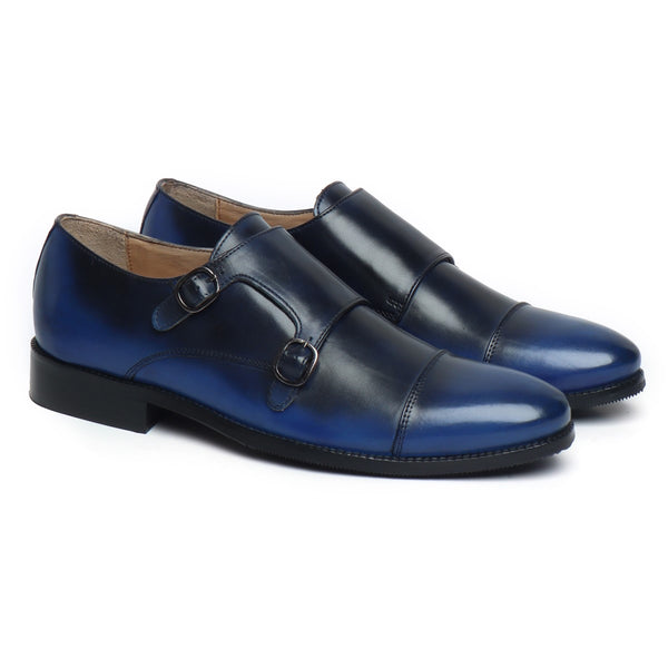 Black-Blue Dual Color Leather Rounded Cap Toe Double Monk Strap Formal Shoes By Brune