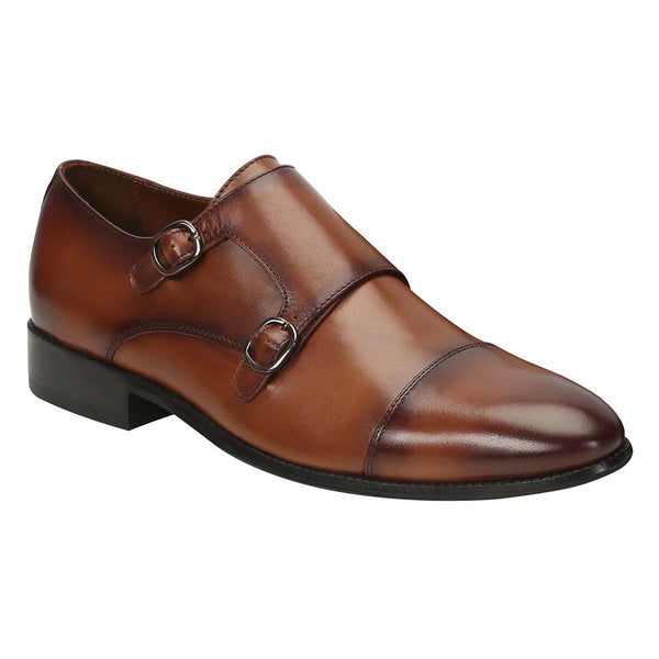 Dark Tan Leather Rounded Cap Toe Double Monk Strap Formal Shoes By Brune