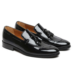 Black Patent Leather Apron Toe Side Lacing Tassel Loafers By Brune