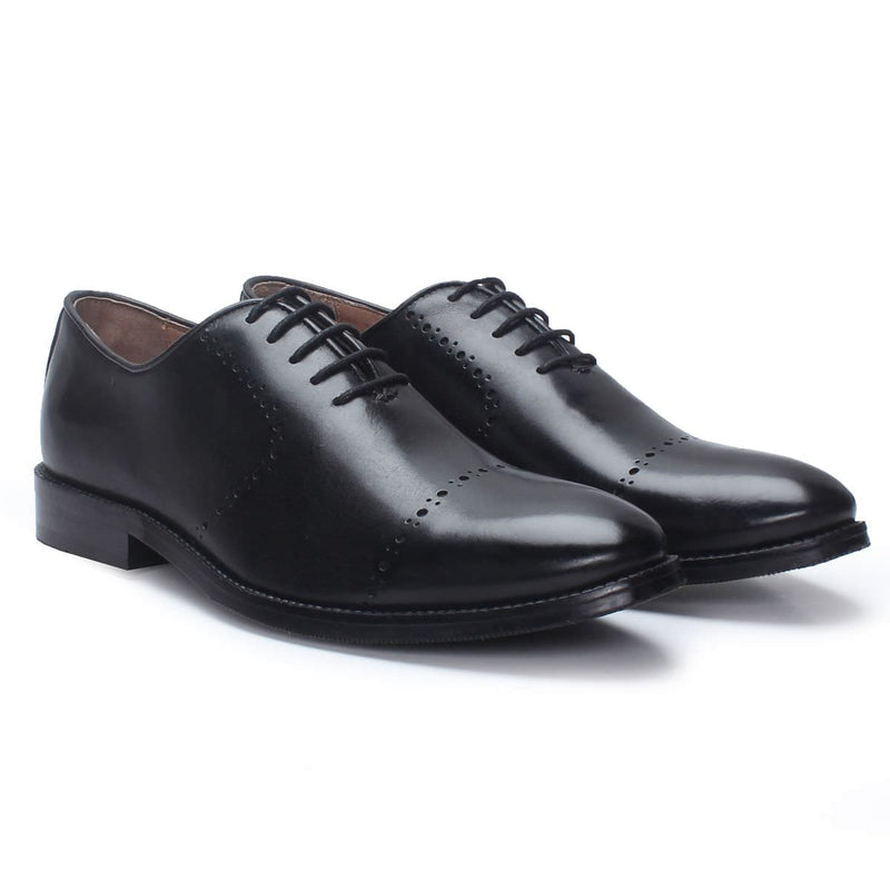 Black Leather Lace Up Quarter Brogue Oxford Formal Shoes By Brune