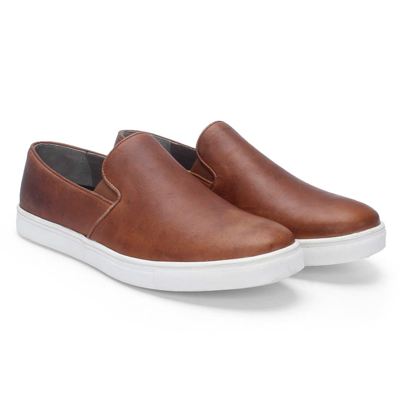 Burnished Tan Leather Slip On Sneakers By Bareskin