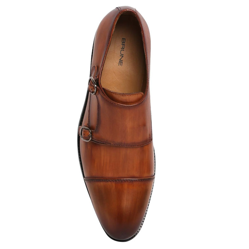 Dark Tan Burnished Leather Rounded Cap Toe Double Monk Strap Formal Shoes By Brune