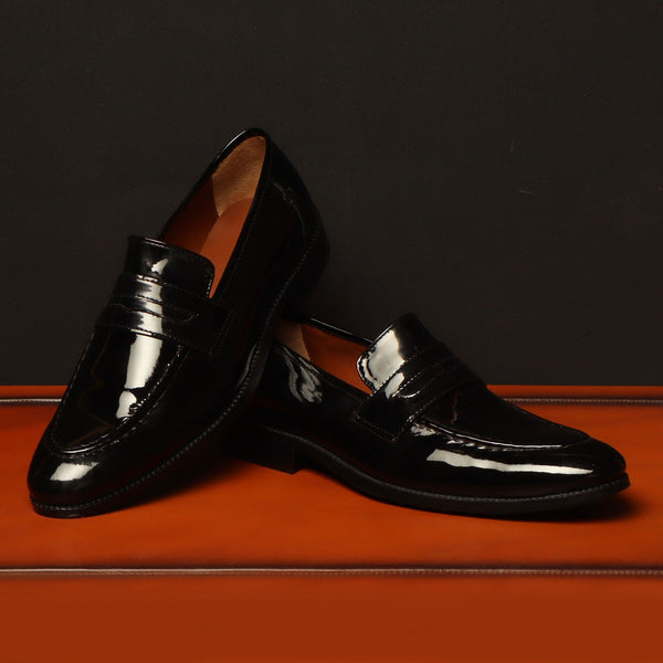 Black Patent Genuine Leather Apron Toe Penny Loafers By Brune