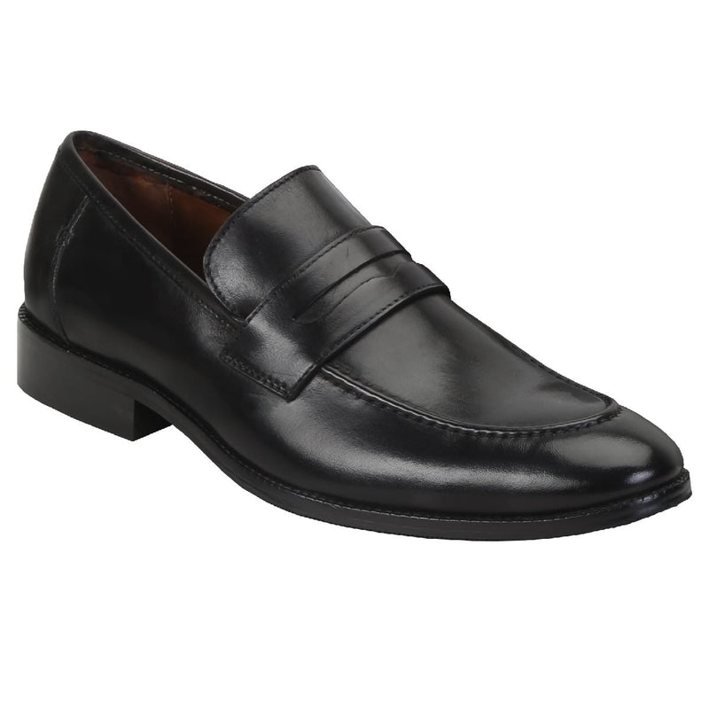 Black Genuine Leather Apron Toe Penny Loafers By Brune