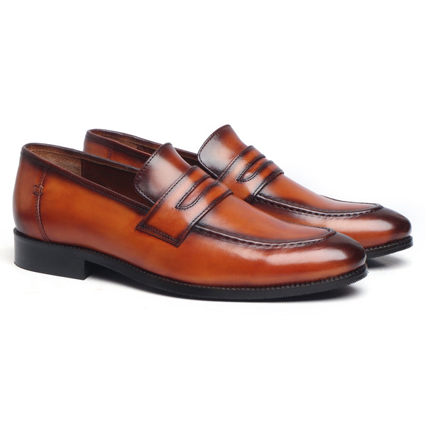Tan Genuine Leather Loafers By Brune