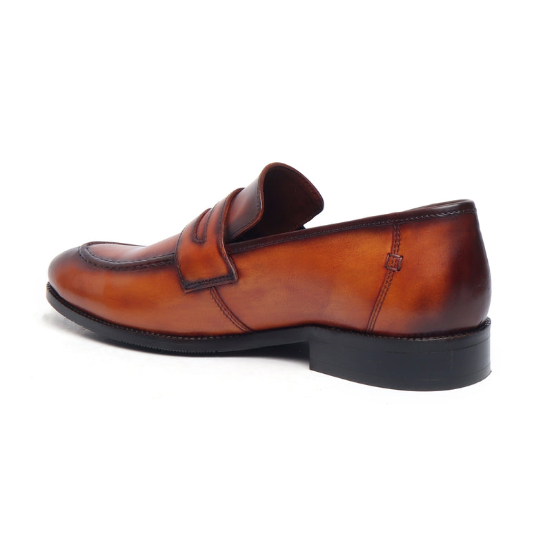 Tan Burnished Leather Apron Toe Penny Loafers By Brune
