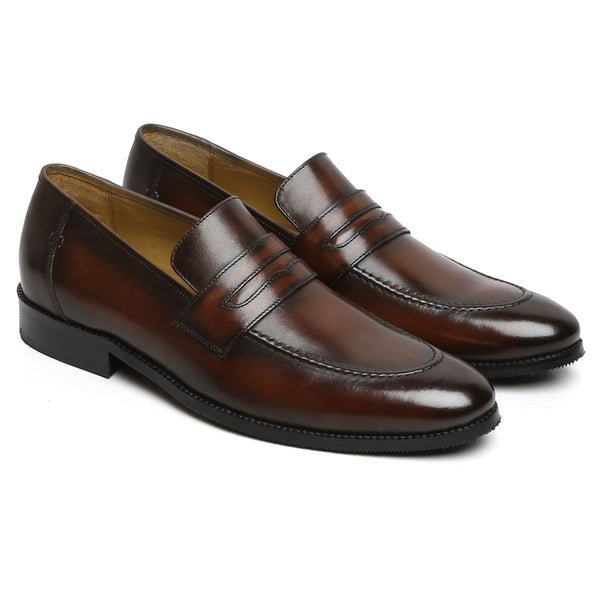 Brown Genuine Leather Loafers By Brune