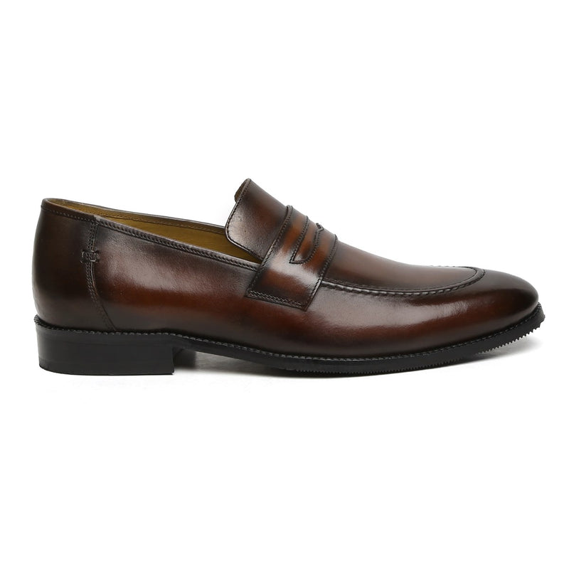 Brown Genuine Leather Apron Toe Penny Loafers By Brune