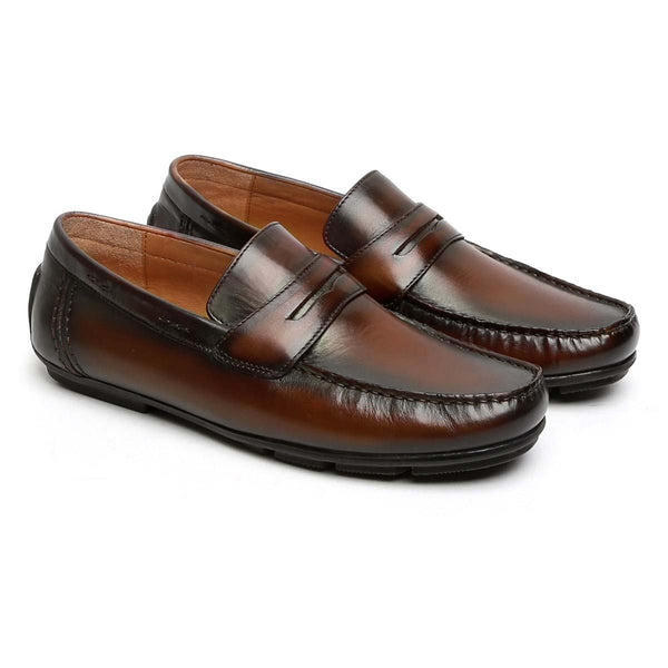 Dark Brown Hand Painted Leather Moccasins For Men By Brune