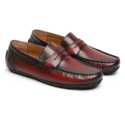 Wine Hand Painted Leather Moccasins For Men By Brune