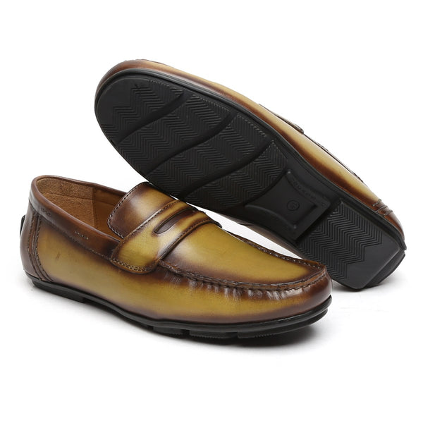 Olive Green Genuine Leather Loafers By Brune