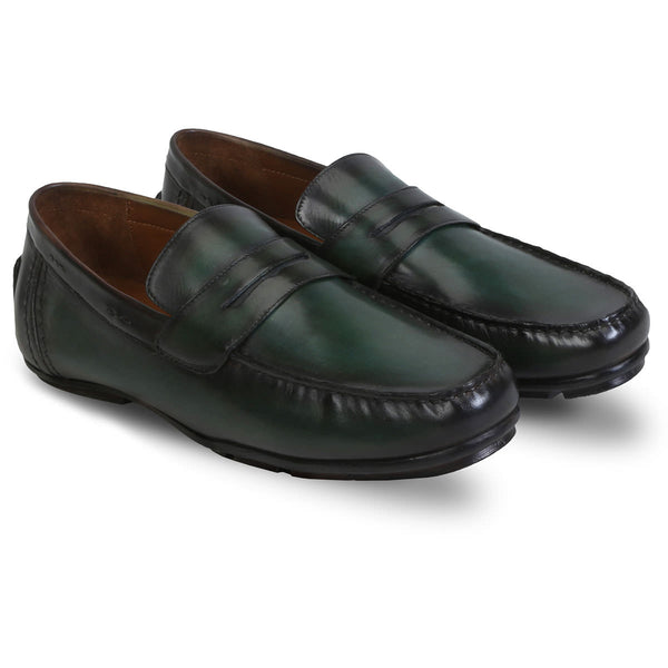 Forest Green Hand Painted Leather Moccasins For Men By Brune