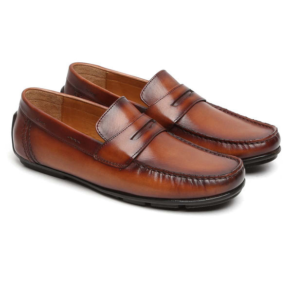 Tan Two Tone Hand Painted Leather Moccasins For Men By Brune
