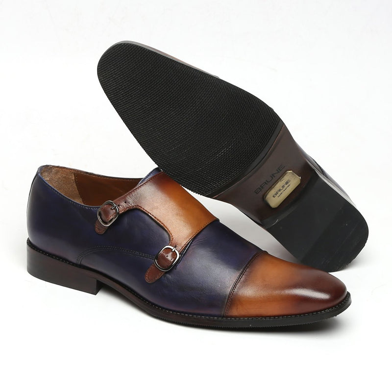 Blue - Tan Contrasting Genuine Leather Monk Shoes By Brune