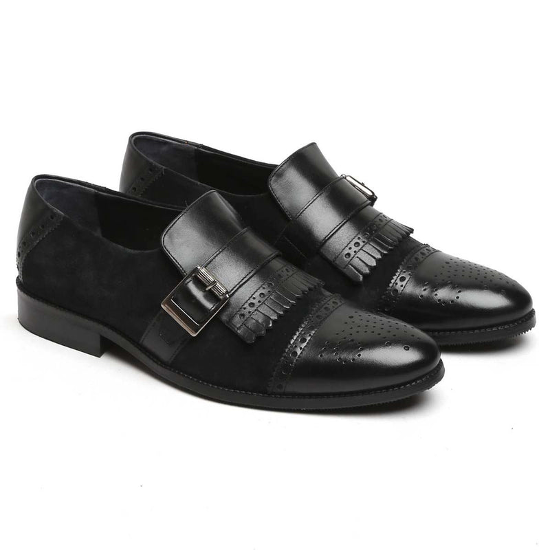 Black Brune Leather Single Monk Strap Shoe With Fringes For Men