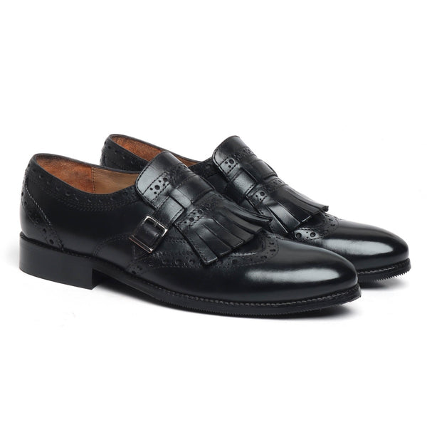Black Leather Fringed Single Monk Strap Shoes By Brune