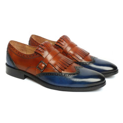 Tan/Blue Leather Fringed Single Monk Strap Shoes By Brune