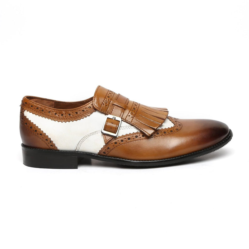 Tan/White Leather Fringed Single Monk Strap Shoes By Brune