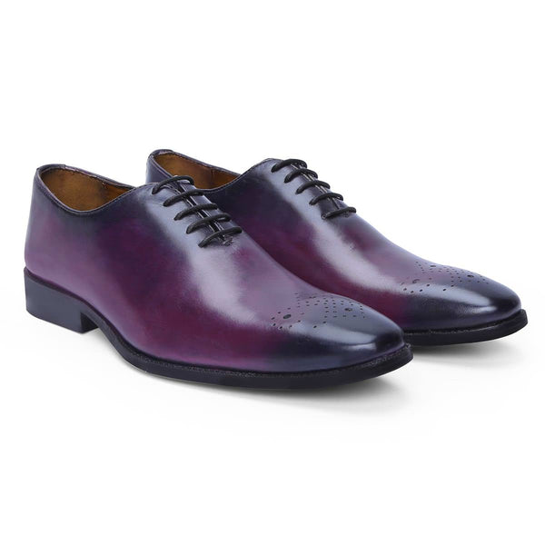 Brune Purple Leather Hand Finished Formal Shoes For Men'S