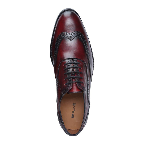 Wine Genuine Leather Half Brogue Wingtip Oxford Formal Shoes By Brune
