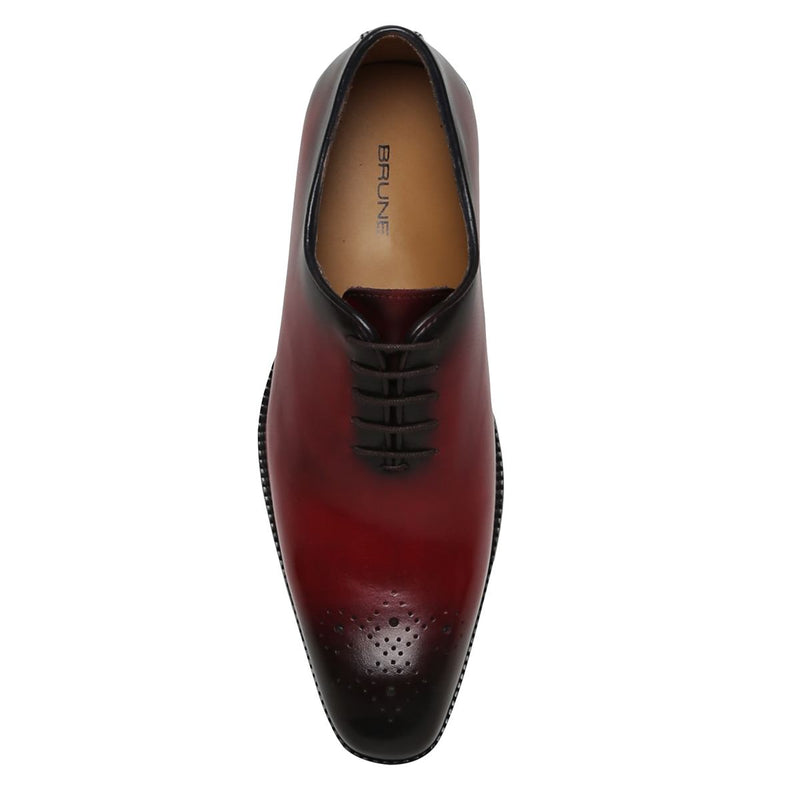 Red Burnished Leather Medallion Toe Whole Cut/One Piece Oxford Shoes By Brune