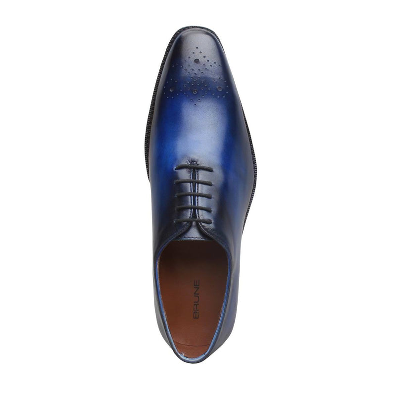 Blue Burnished Leather Medallion Toe Whole Cut/One Piece Oxford Shoes By Brune