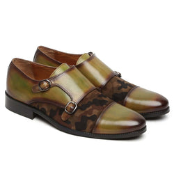 Olive Green Leather & Camouflage Velvet Cap Toe Double Monk Strap Formal Shoes By Brune