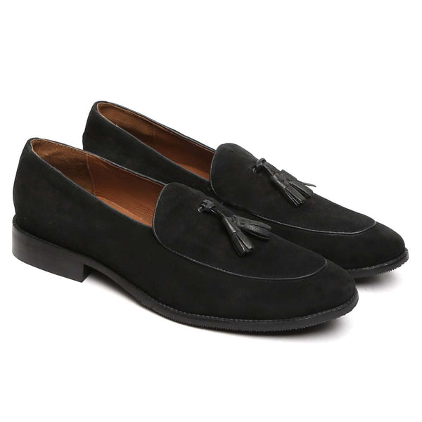 Black Suede Leather Apron Toe Side Lacing Tassel Loafers By Brune