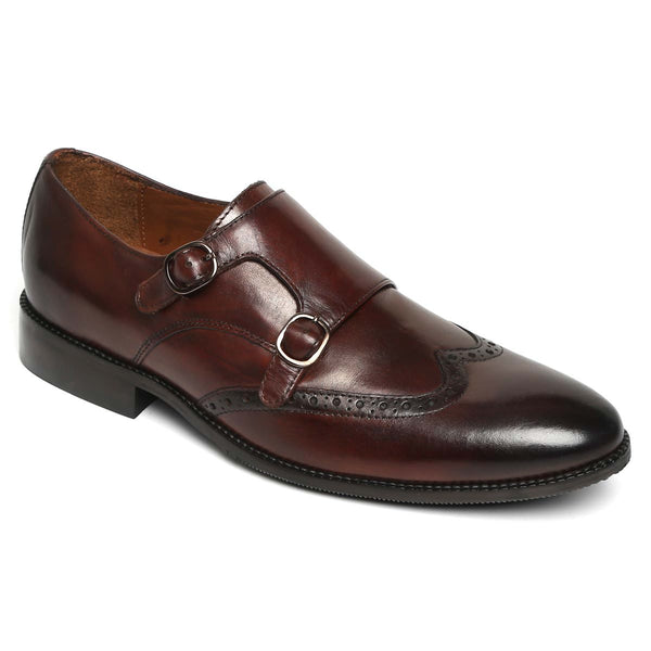 Brown Hand Finished Leather Double Monk Strap Formal Shoe For Men By Brune