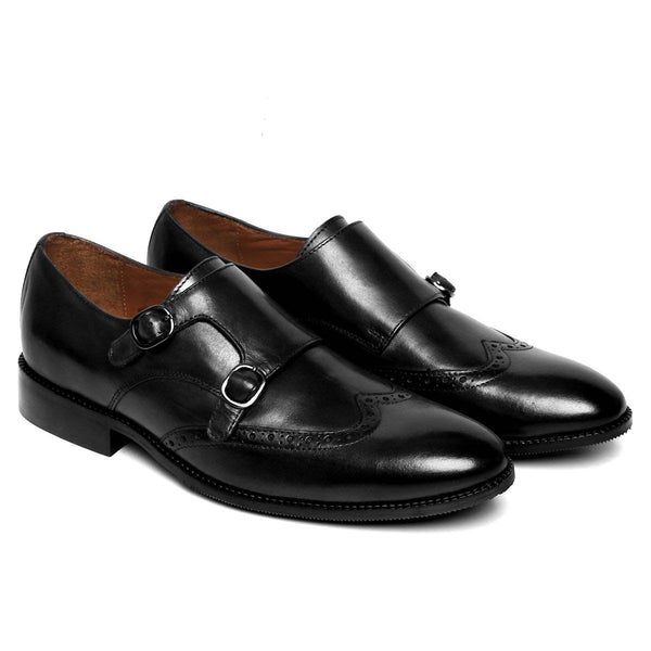 Black Hand Finished Leather Double Monk Strap Formal Shoe For Men By Brune
