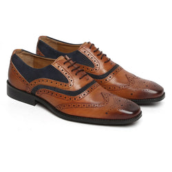 Tan Leather/Dark Blue Suede Leather Full Brogue Wingtip Formal Shoes By Brune