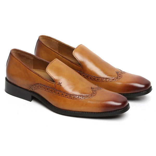 Tan Burnished Leather Plain Toe Wingtip Loafers By Brune