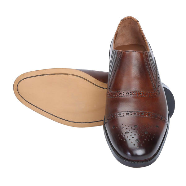 Brown Designer Semi Brogue Formal Slip - On By Brune