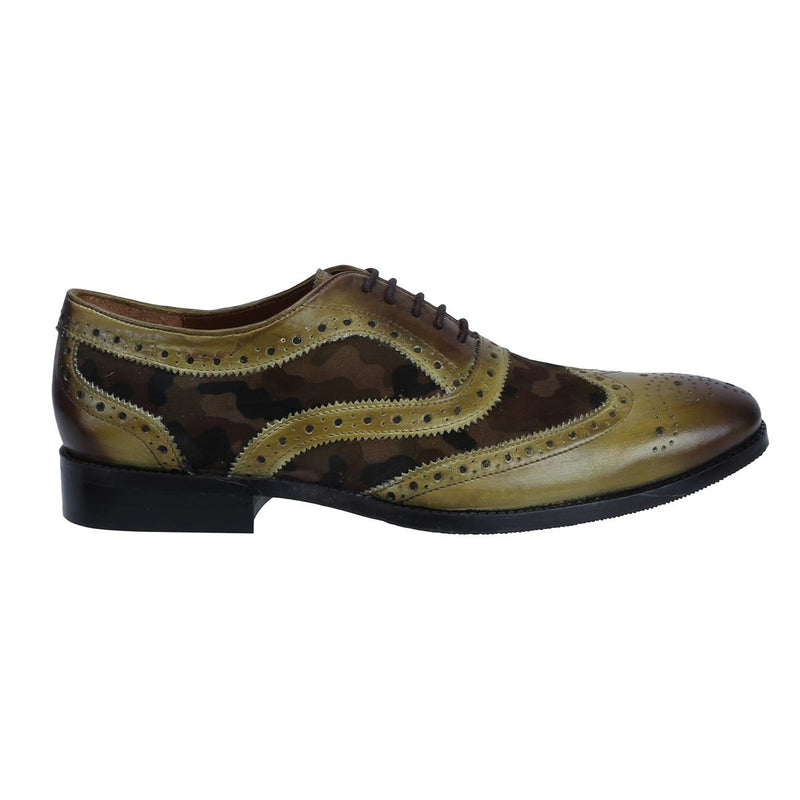 Olive Burnished Leather/Camouflage Velvet Full Brogue Wingtip Formal Shoes By Brune