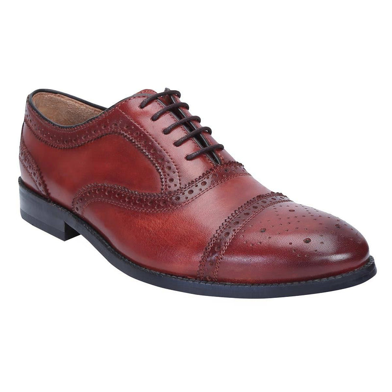 Wine Genuine Leather Brogue/Oxford By Brune
