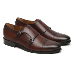 Brown Leather Hand Made Rounded Cap Toe Double Monk Strap Formal Shoes By Brune