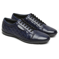 Navy Blue Genuine Leather Sneakers By Bareskin