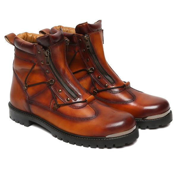 Tan Genuine Leather Bryce Boots By Bareskin