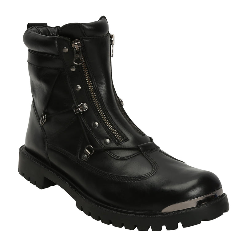 Black Biker Boot With Metal Plate On Toe For Men By Bareskin