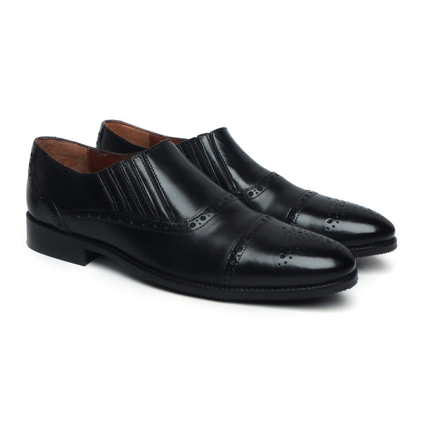 New Stylish Black Hand Finished Leather Formal Shoes By Brune