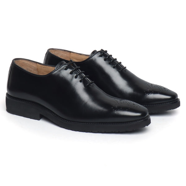 Black Hand Finished Lightweight Leather Formal Shoe For Men By Brune