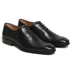 Black Hand Finished Leather Formal Shoe For Men By Brune
