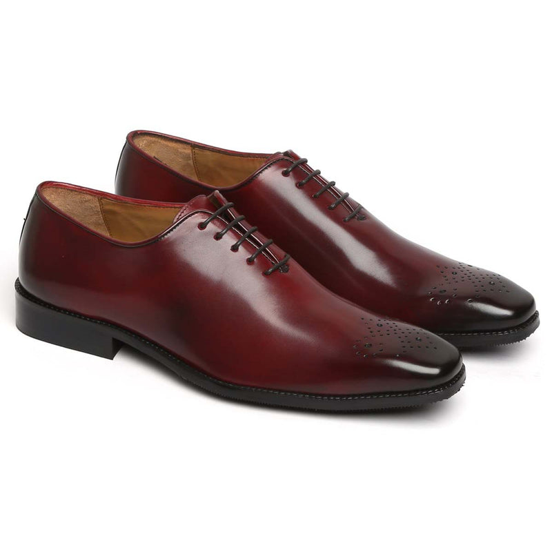 Wine Burnished Leather Medallion Toe Whole Cut/One Piece Oxford Shoes By Brune