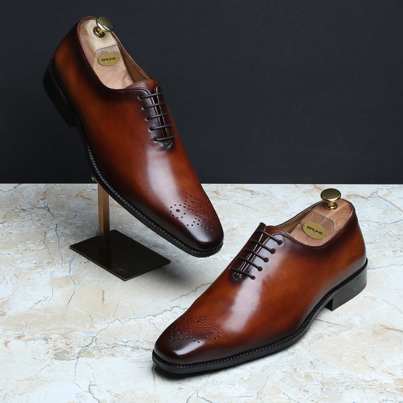 Dark Tan Burnished Leather Medallion Toe Whole Cut/One Piece Oxford Shoes by BRUNE