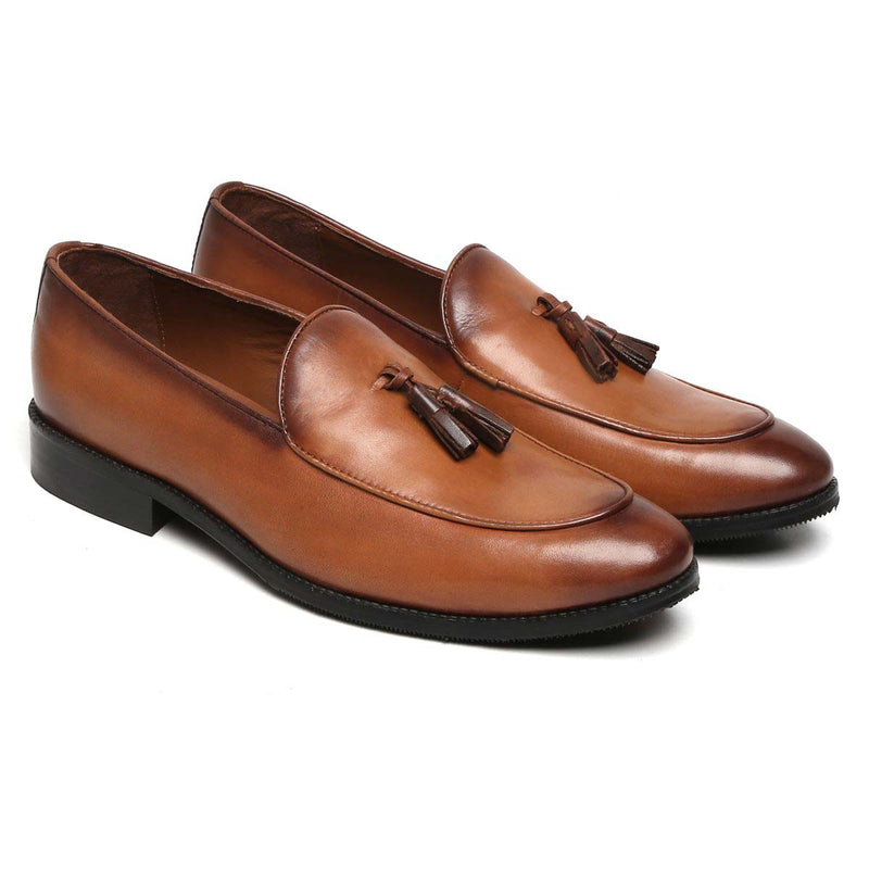 Tan Genuine Leather Apron Toe Tassel Slip - On Shoes By Brune