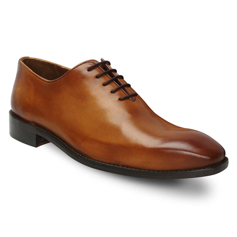 Tan Hand Painted Leather Handmade Whole Cut/One-Piece Oxford Shoes For Men By Brune